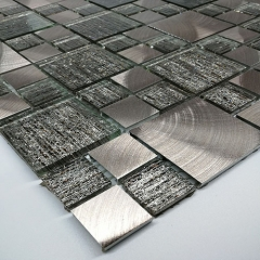 Square Glitter Glass and Brushed Aluminum Mosaic Tile in Metallic Grey Wall Backsplash MGT023