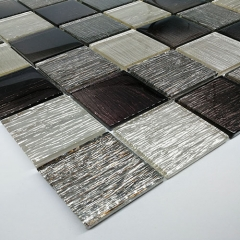 Grey Glass Square Mosaic Tile for Shower and Kitchen CGT043