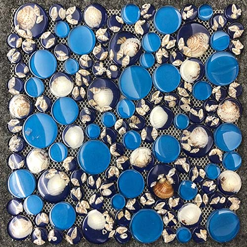Dark Blue Glass Pebble Mosaic Tile in Beach Shell Pattern for Bathroom Decorative  CGT048