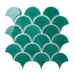 Turquoise Crackle Porcelain Mosaic Tile in Fish Scale Designs for Kitchen and Bathroom CPT131