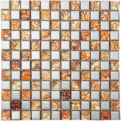 Square Glitter Glass and Brushed Aluminum Mosaic Tile in Metallic Grey Wall Backsplash MGT024
