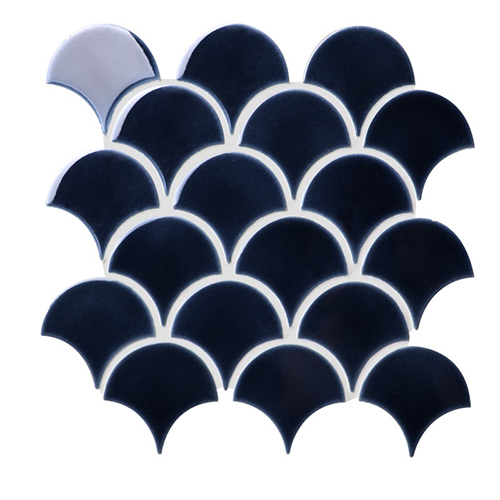 Dark Blue Crackle Porcelain Mosaic Tile in Fish Scale Designs for Kitchen and Bathroom CPT130