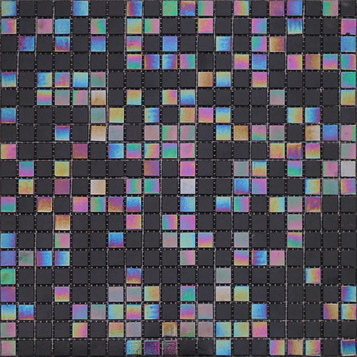 Colorful Glass Mosaic Tile Square Black Backsplash for Bathroom Wall  CGT051