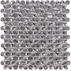 "Silver Penny Round Stainless Steel Mosaic Tile in 12""x12"" Wall Backsplash Tiles Patterns SST116"