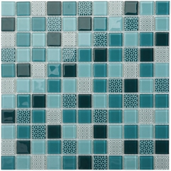 4mm Navy Blue Square Glass Mosaic Tile for Bathroom Wall and Kitchen Backsplash  CGT052