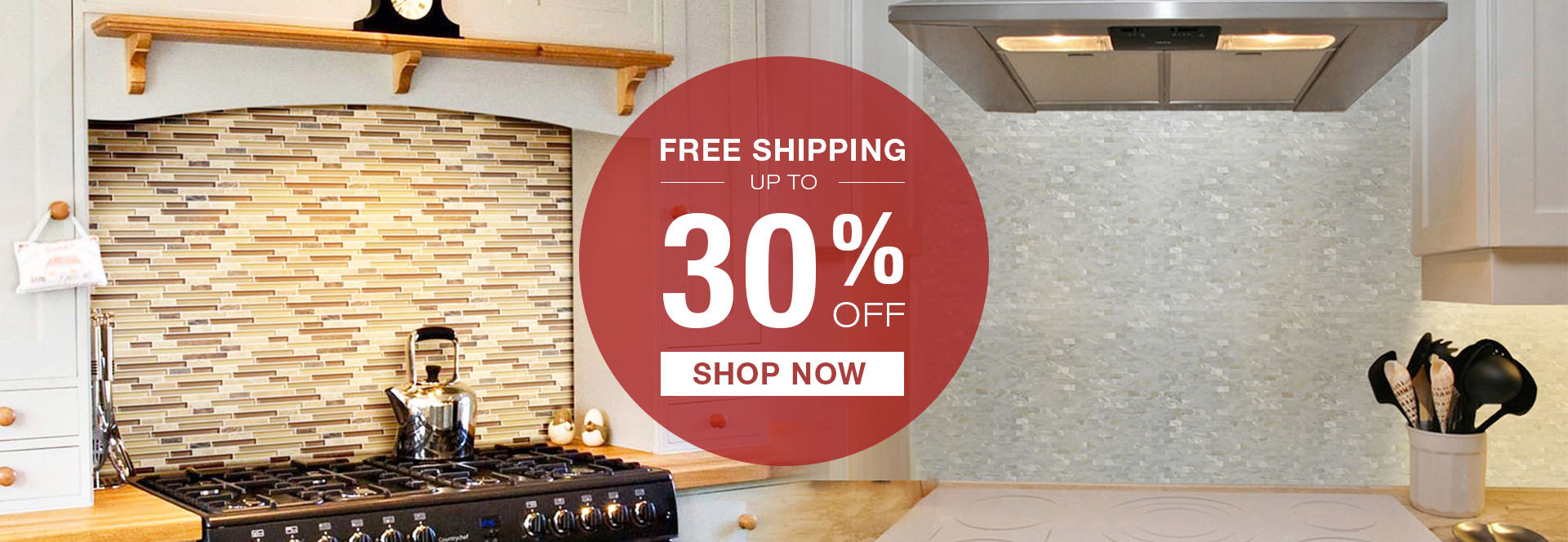 Discount for all backsplash tiles on Labor Day