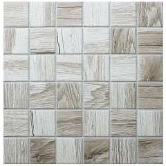 12x12 inches Sqaure Wood Look Ceramic Mosaic Tile Simulated Wood Design for Wall and Floor CPT196