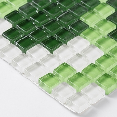 Art Glass Mosaic Tile Colorful Décor picture for Wall Green Flower Designs TM106