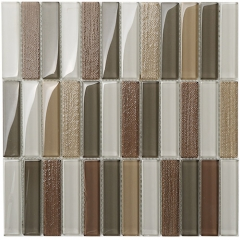 12x12 Inches Beige and White Glass Mosaic Tile Subway Stack Tiles Kitchen and Bathroom Backsplash  CGT053