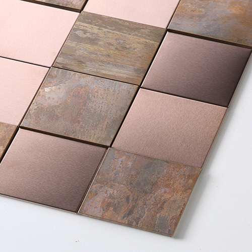 3D Antique Copper Colored Metal Mosaic Tile Square Fireplace Brushed Metal Tiles COP11