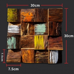3D Colorful Square Reclaimed Wood Mosaic Tile for Backsplash and Wall BWT109