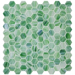 Jade Green Glass Mosaic Tile in Hexagon Shape for Floor and Wall CGT063