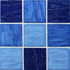 Multi Blue Square Glossy Porcelain Mosaic Tile for Swimming Pool and Bathroom CPT208