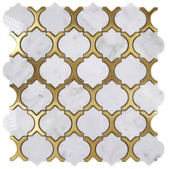 Arabesque White and Golden Stone and Stainless-Steel Mosaic Tile Wall for Bathroom and KitchenMST008