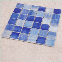 "11.8""x 11.8""Blue Sea Glass Mosaic Tile for Kitchen Backsplash and Shower Wall CGT071"