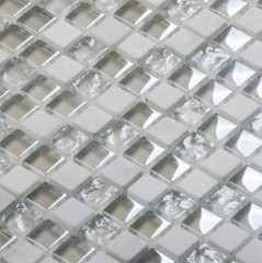 White Stone and Glass Mosaic Tile in Square for Bathroom Wall and Kitchen Backsplash GST135