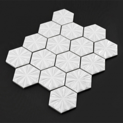 Hexagon White Porcelain Mosaic Tile for Backsplash and Wall Remodel Decorative Ideas CPT211