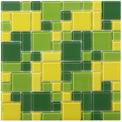 "12"" x 12"" Turquoise and Yellow Glass Mosaic Tile for Bathroom Wall and Kitchen Bbacksplash CGT072"