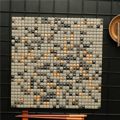 Brown Mini Square Glass Mosaic Tile for Kitchen Bathroom and Living Room Wall CPT218