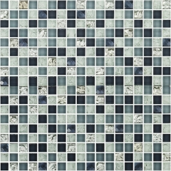Grey Glass Crackled Mosaic Tiles for Kitchen Backsplash and Bathroom Wall CGT074