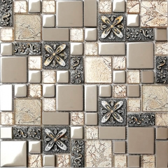 Brown Glass and Metal Embossing Mosaic Tile for Kitchen Backsplash MGT029