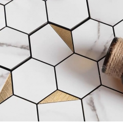 Plastic Peel and Stick Tile in White and Golden Stone Look for Kitchen Backsplash and Wall Adhesive Tiles SOT1025