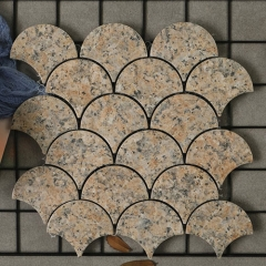 Brown Porcelain Mosaic Tile in Fish Scale Pattern for Wall and Backsplash Design CPT232