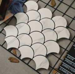 White Porcelain Tile in Fish Scale Pattern for Wall and Backsplash Design CPT231